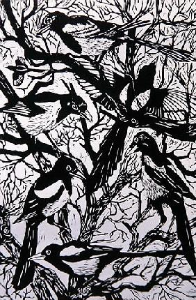 Magpies, 1997 (woodcut)