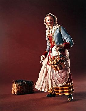 Shepherdess, from the Christmas Creche and tree (terracotta & cloth)