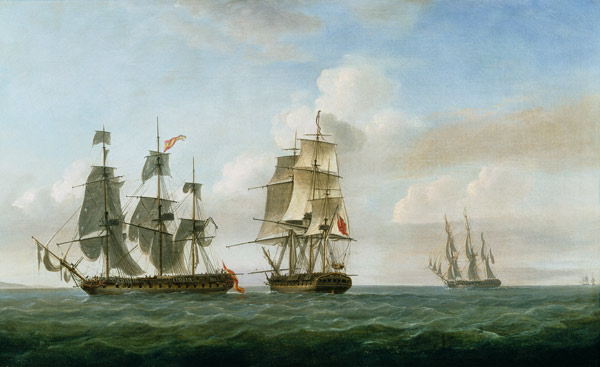 The Spanish frigate 'La Fama' having out - Nicholas Pocock en reproduction  imprimée ou copie peinte à l'huile sur toile
