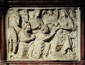 Relief depicting the Adoration of the Magi from the pulpit