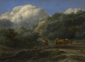 A Man and a Youth ploughing with Oxen
