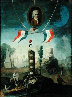 An Allegory of the Revolution with a portrait medallion of Jean-Jacques Rousseau (1712-78)