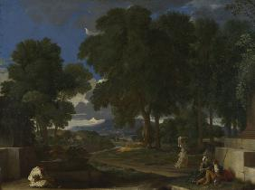 Landscape with a Man washing his Feet at a Fountain