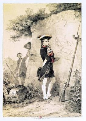 Napoleon I (1769-1821) at Military School in 1783, illustration from 'L'Empereur et la Garde Imperia