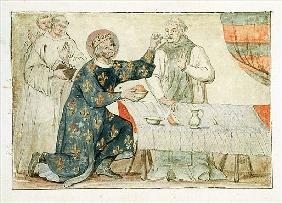 Ms 1779 fol.81 St. Louis feeding a miserly monk, from ''Memoires pour la Vie de Saint Louis''