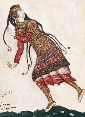 Ultrafashionable lady. Costume design for the ballet The Rite of Spring (Le Sacre du Printemps) by I