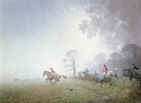 Hunting Scene (oil on canvas)