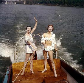Actresses Ludmilla Tcherina and Andree Debar on A Boat