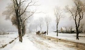 An Extensive Winter Landscape With A Horse And Cart
