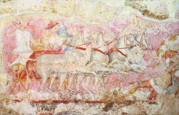Amazons driving a chariot, detail from the side of the sarcophagus of the Amazons, Tarquinia, 4th ce