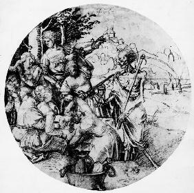 A.Dürer, Banqueting Party & Death /Draw.