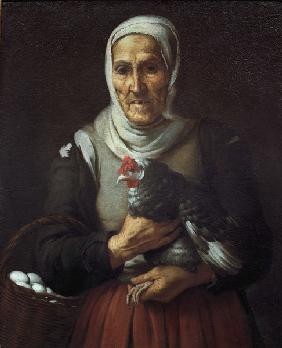B.E. Murillo, Old Woman with Hen / Pain.