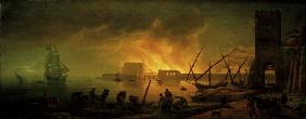 C.-J.Vernet, Harbour fire at night