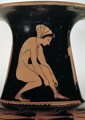 Crouching woman tying her sandal, detail from the neck of an Attic red-figure amphora, made by Pamph