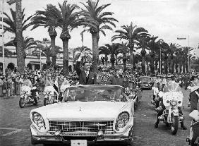 Egyptian President Gamal Abdel Nasser with King Mohamed V of Morocco and his son Moulay Hassan in Ca