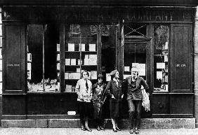 Ernest Hemingway and Sylvia Beach infront of the 'Shakespeare and Company' bookshop, Paris
