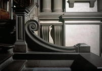 Entrance Hall, detail of staircase designed by Michelangelo Buonarroti (1475-1564) in 1524-34 and co