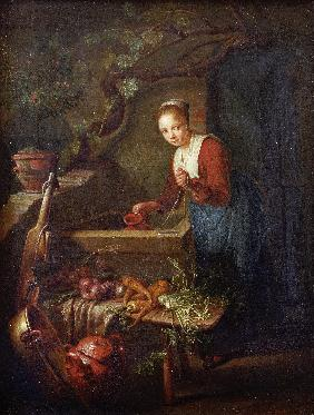 Gerard Dou / Kitchen Maid by the well