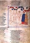 Inferno XXIX f.21r Geri del Bello in the Circle of the Falsifiers, from the Divine Comedy, 13th cent
