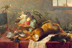 Hunting Still Life with Killed Stag, Fruit Basket, Winged G