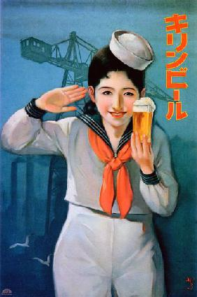 Japan: Advertising poster for Kirin Beer