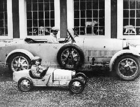 Jean Bugatti and Roland Bugatti sons of EttoreBugatti in cars made by their father