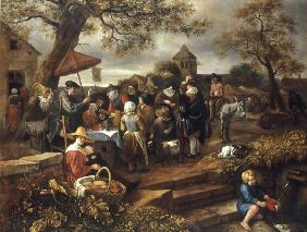 J.Steen, The Village quack / painting
