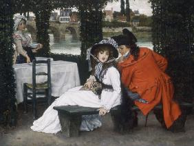 J.Tissot, Tryst at a Riverside Cafe