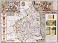 Northumberland, engraved by Jodocus Hondius (1563-1612) from John Speed's 'Theatre of the Empire of