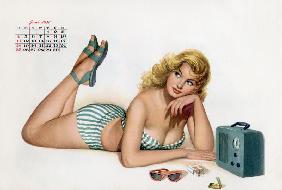 Pin up listening radio, from Esquire Girl calendar