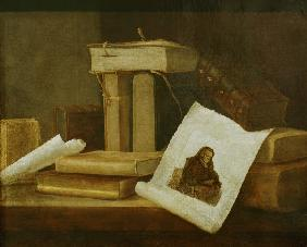 S.Stosskopf / Books and Rembrandt Etch.