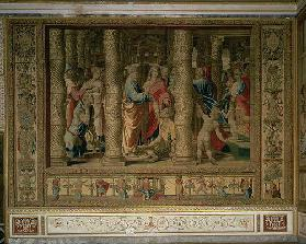 St. Peter and St. John heal a cripple at the gate of the temple, from the Brussels Tapestries, repli