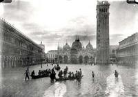 View of Flooded Piazza S. Marco (b/w photo) 1880-1920