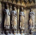 Virgin and the apostles, detail of Sculptures from the exterior west facade, 13th/14th century (ston