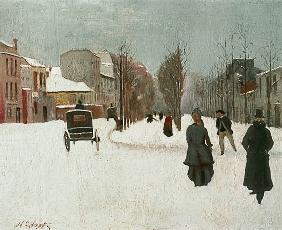 Norbert Goeneutte - French street scene with snow (oil on metal)