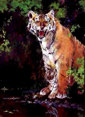 Mother and Baby II (Tigers) 1997 (acrylic and pencil crayon on paper)