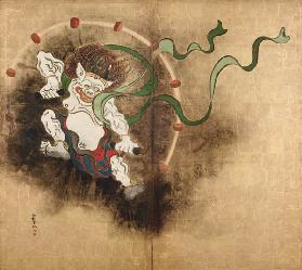 "The Thunder God. Left part of two-fold screens ""Wind God and Thunder God"""