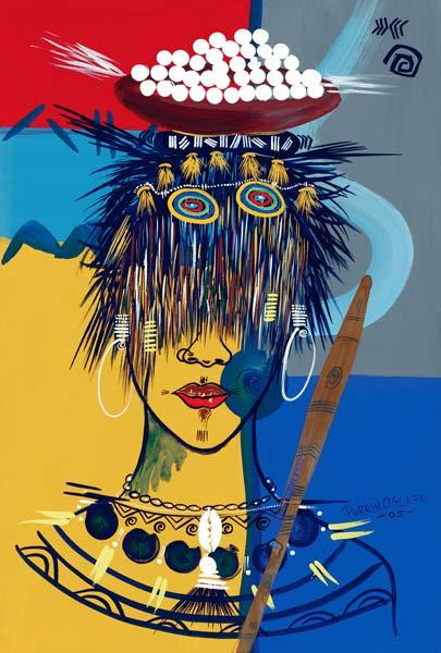 African Beauty 3, 2005 (w/c & ink on paper)