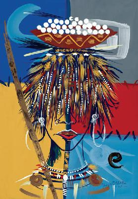 African Beauty 2, 2005 (w/c & ink on paper)