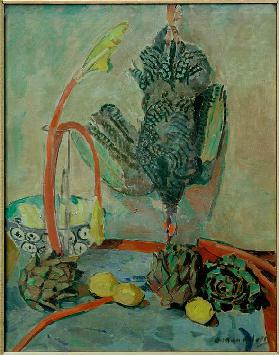 Still life with guinea fowl and artichokes