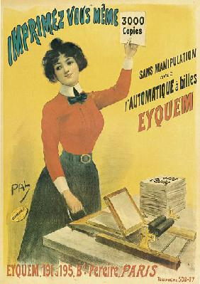 Poster advertising 'Eyquem' printers