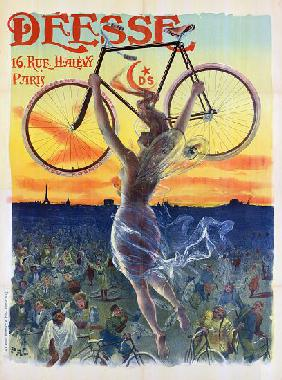 Vintage French Poster of a Goddess with a Bicycle