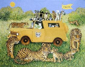 Cat Safari (oil on canvas)