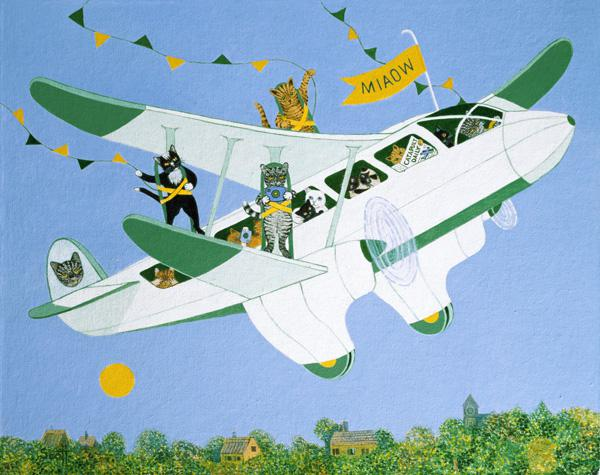 Cat Air Show (acrylic on canvas)