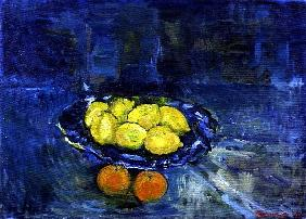 Lemons in a Blue Bowl, 1997 (oil on canvas)