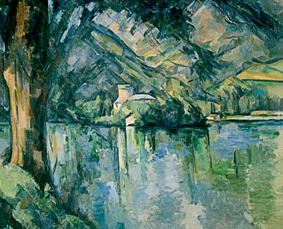 lac d annecy peinture huile sur toile de paul cezanne. Black Bedroom Furniture Sets. Home Design Ideas