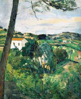 C�zanne, Paul : Landscape with red roof or...