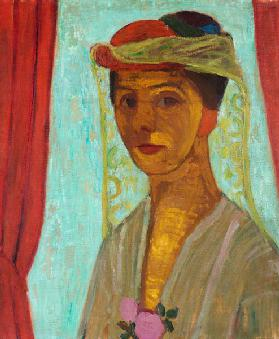 Self-portrait with hat and veil