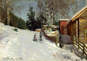 Children Playing in a Snowy Village Lane