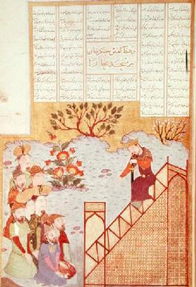 Genghis Khan (c.1162-1227) addressing a congregation at the mosque in Bukhanra, from a Shahinshanama